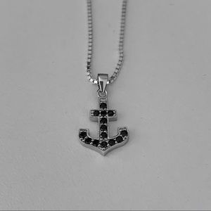 Jewelry - Sterling Silver Black CZ Anchor Necklace